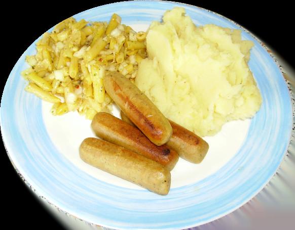 Veggie-Würstchen und Kartoffelpürre