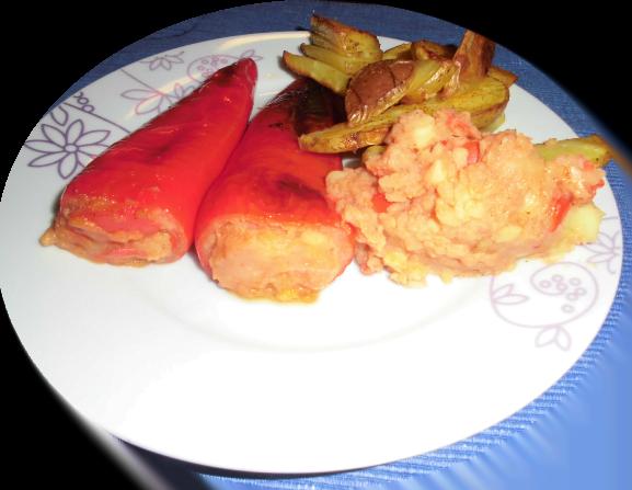 gefüllte Paprika mit Kartoffelecken