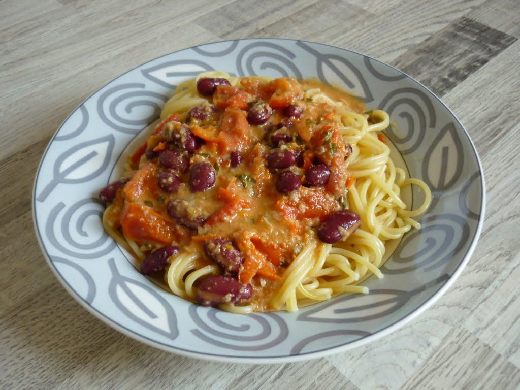 Spaghetti mit Kidneybohnen