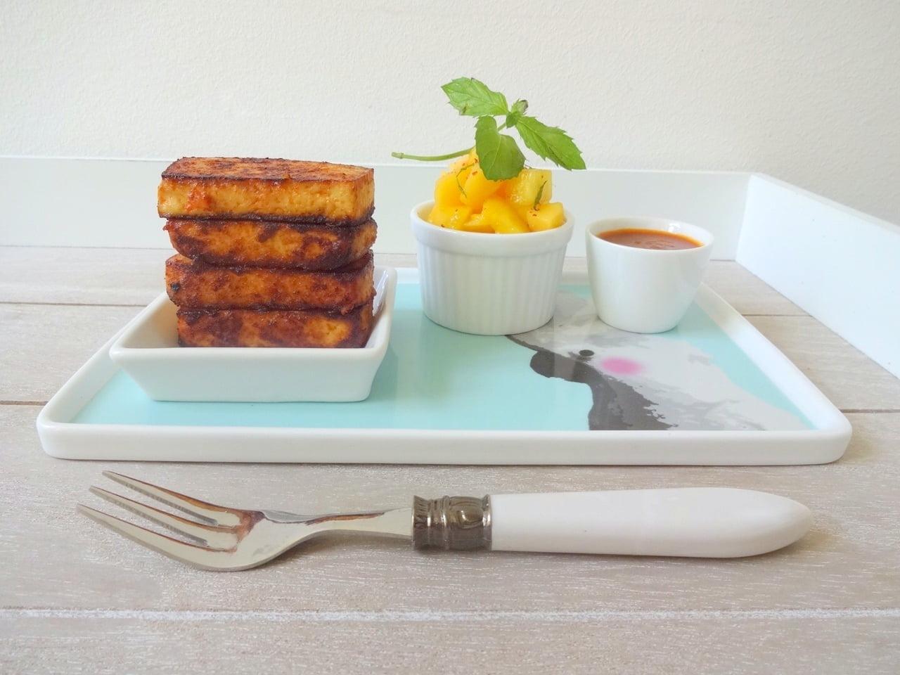 BBQ-Tofu & Pfirsich-Relish
