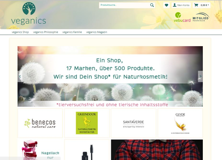 Screenshot veganics shop